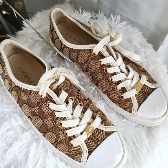 Coach Emblem Lace Up Causal Sneakers Brown & Tan 6